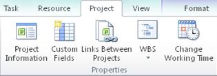 Properties group on the Project tab