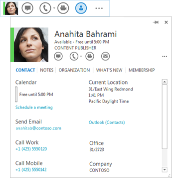 Screen shot of contact listing with contact card icon selected and corresponding contact card displayed