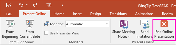 Shows End Online Presentation button in PowerPoint