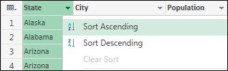 Select sort order