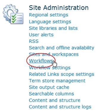 Workflows link under Site Administration heading