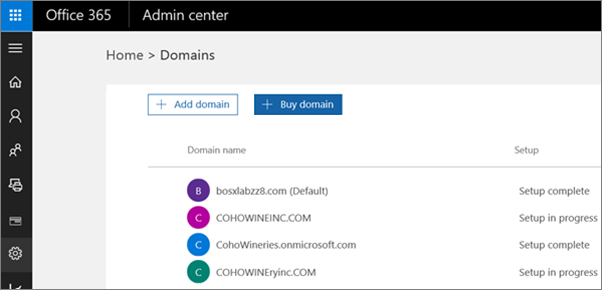 On the Manage domains page, click Buy domain