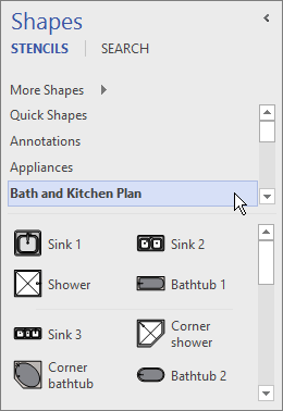 Visio displays shapes from the selected stencil, Bath and Kitchen Plan