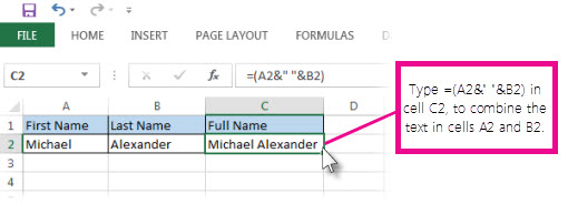Combine text in two cells into one cell
