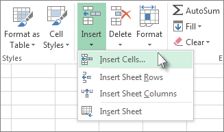 Insert new cells on the Home tab