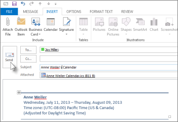 Email your calendar to a colleague