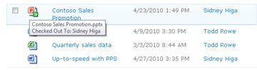 ToolTip that appears below the checked-out file icon. It lets the user know the file name and who has it checked out.