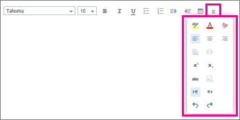 Message formatting toolbar showing extended options.