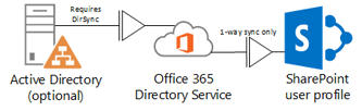 Diagram showing how an on-premises Active Directory uses DirSync to feed profile information to the Office 365 Directory Service, which in turns feeds the SharePoint Online profile