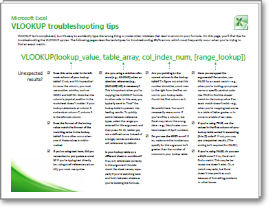 Thumbnail of VLOOKUP Troubleshooting Tips card
