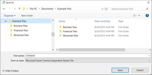 Save the contacts.csv file to a location on your computer.
