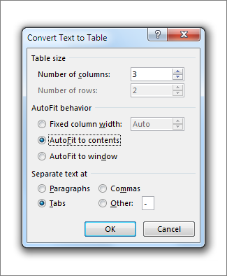 Convert Text to Table Box
