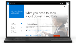 Screenshot of Add a Domain in Office 365 Admin Portal