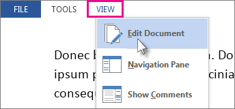 Image of portion of View menu in Read Mode, with Edit Document option selected.