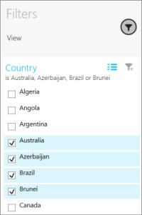 Slicer in Filters pane in the Power BI mobile app