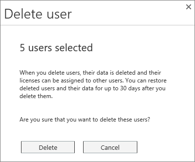 Screen shot of the Delete user menu that is displayed when several users are selected.