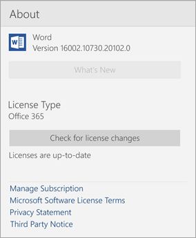 About Word Mobile window