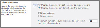 Globa Navigation Settings