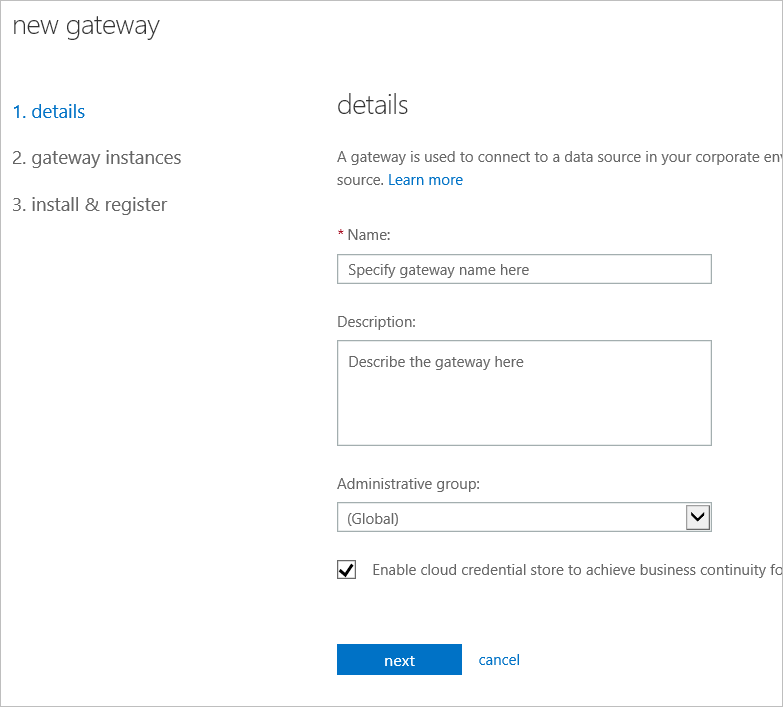 Admin Center Gateway Details