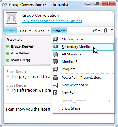 Microsoft Lync window with screen sharing options