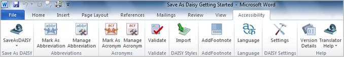Save as DAISY Accessibility ribbon tab