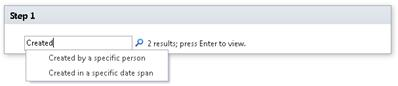 Enter keywords into the workflow step and press Enter to see the list of related conditions
