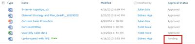 SharePoint library that has a pending file waiting for approval