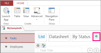 Add List view from Access client