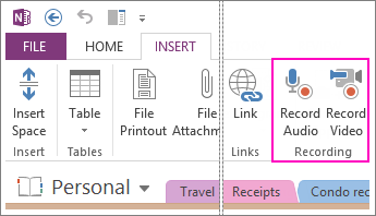 Record audio or video and add the recording to a OneNote page.