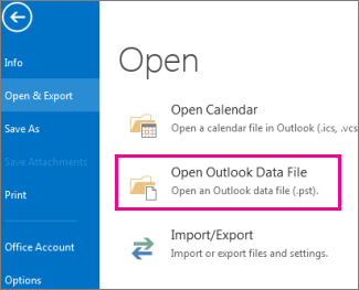 Open Outlook Data File command