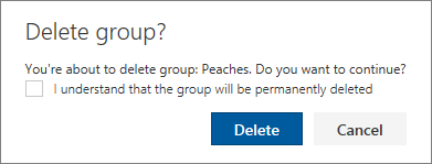 Delete group confirmation box for a Calendar group you created that includes a check box to confirm the group will be deleted permanently.