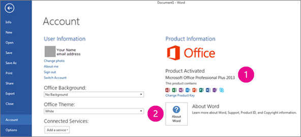 File > Account in Word 2013