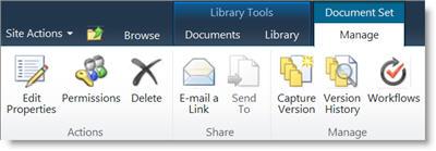 Manage Document Set ribbon