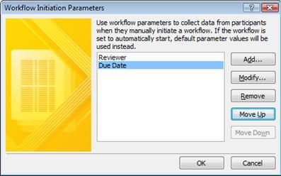 workflow initiation parameters