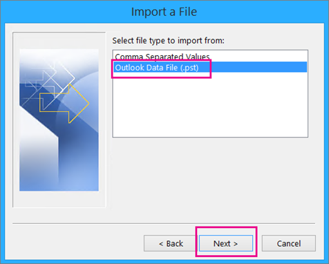 Choose to import an Outlook Data File (.pst)