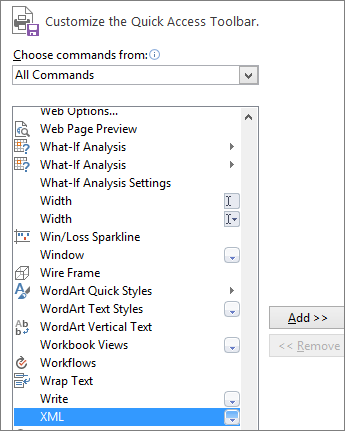 In the list of commands, choose XML, and then click Add.