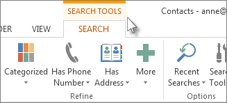 Search tools tab
