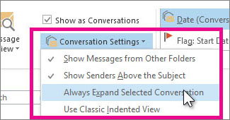 "selecting ""always expand selected conversation"""