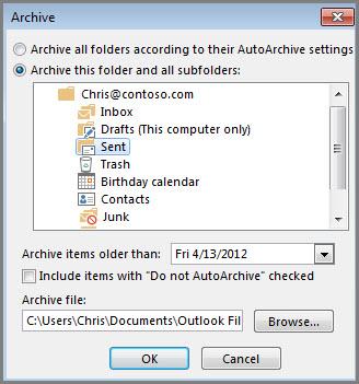 Archive dialog box