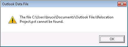 Outlook Data File (.pst) missing dialog box