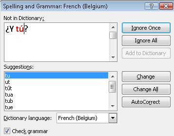 Spelling dialog box with multiple languages
