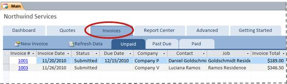 Invoices tab of the Services database template