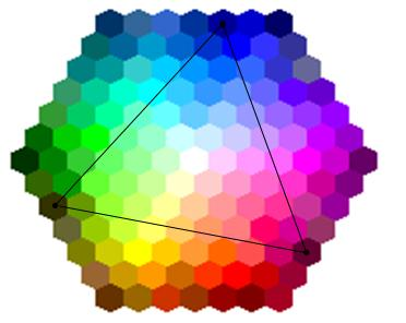 color palate with triangle