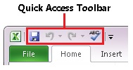 Quick Access Toolbar in Excel 2010