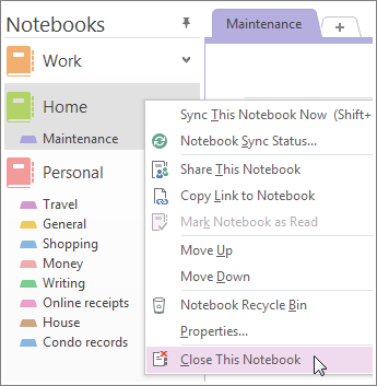 You can close a notebook if you don't need to use it anymore.