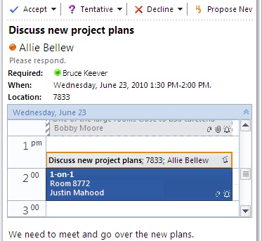 Calendar Quick View in meeting request message