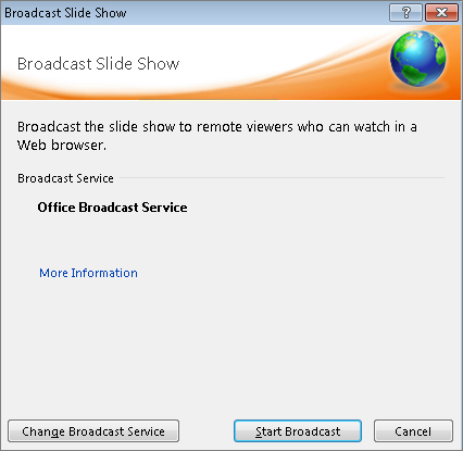 Shows the Broadcast Slide Show dialog box in PowerPoint 2010