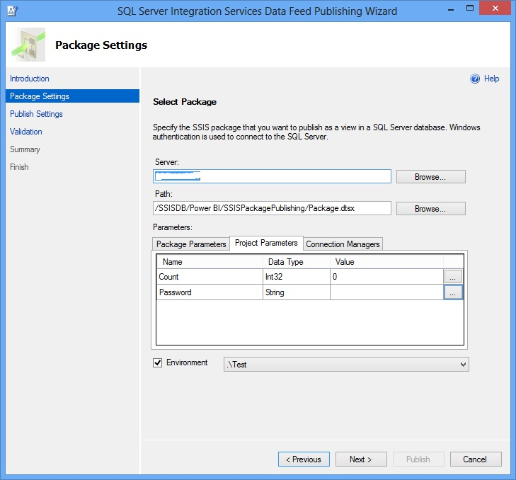 SSIS Package Publish Wizard - Package Settings