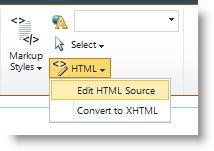 Edit HTML Source command