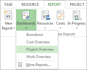 Dashboard menu on the Report tab.